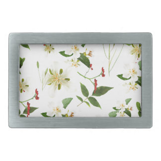 WHITE GREEN WHIMSY FLORALS SHABBY CHIC BELT BUCKLES