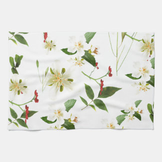 WHITE GREEN WHIMSY FLORALS SHABBY CHIC HAND TOWEL