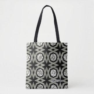 White Grey Black Rosette Zig Zag Pattern Tote Bag