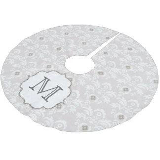White Grey Damask Lace Monogram Initial Tree Skirt