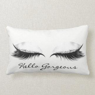 White Grey Metallic Makeup Lashes Hello Gorgeous Lumbar Cushion