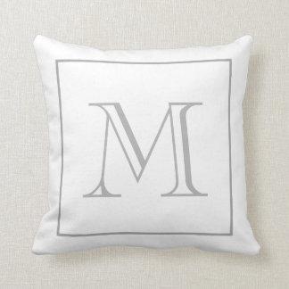 White Grey Monogram Throw Pillow