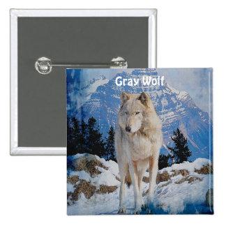 White Grey Wolf Rocky Mountains Button