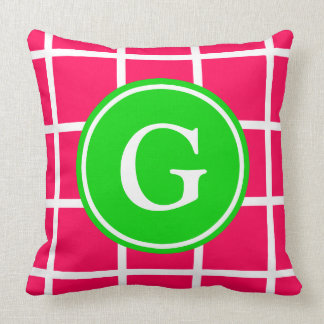 White Grid on Summer Pink and Green Monogram Cushion