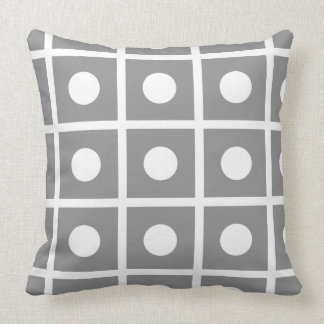 White Grid Stripes and Polka Dots on Dove Grey Cushion