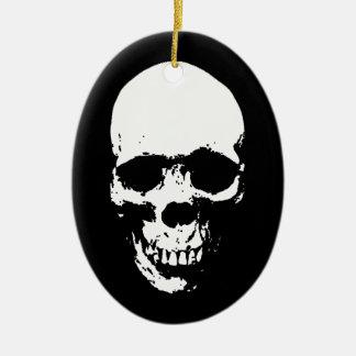 White Grim Reaper Skull Ceramic Ornament