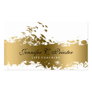 White & Grunge Gold Stripe & Flying Birds Pack Of Standard Business Cards