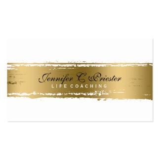 White & Grunge Gold Stripe  Modern Design 2 Pack Of Standard Business Cards