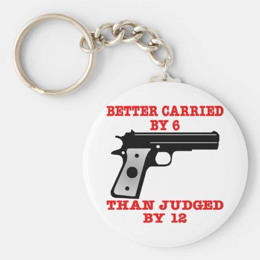 White Gun Better Carried By 6 Keychain