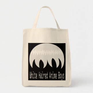 White haired anime boys tote grocery tote bag