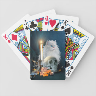 White Halloween cat Bicycle Playing Cards