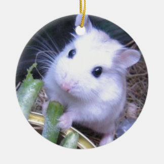 White Hamster Round Ceramic Decoration