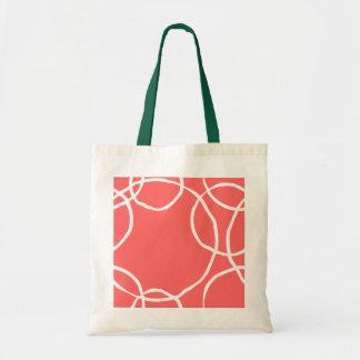 White Hand Drawn Circles on Orange Tote Bag