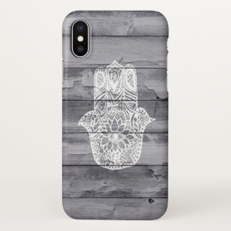 White hand drawn Hamsa hand of fatima on wood iPhone X Case