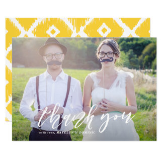 White Hand Lettered Script Photo Wedding Thank You Card
