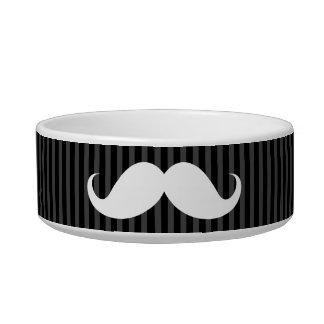White handlebar mustache on gray black stripes cat water bowl