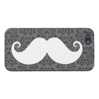 White handlebar mustache on gray damask pattern iPhone 5 cases
