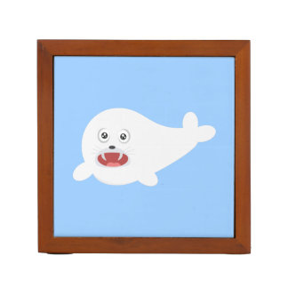 White happy Seal Zioq8 Desk Organiser