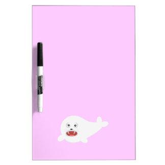 White happy Seal Zioq8 Dry Erase Board