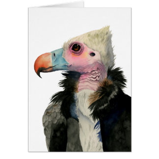 White-Headed Vulture Watercolor Painting Card