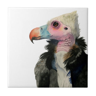 White-Headed Vulture Watercolor Painting Ceramic Tile