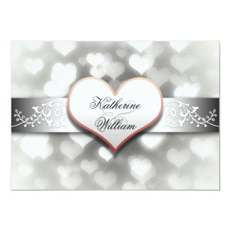 white heart engagement party invitations