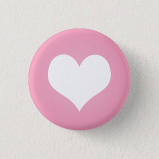 White heart flair 3 cm round badge