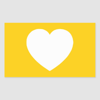 White Heart on Gold Rectangular Sticker