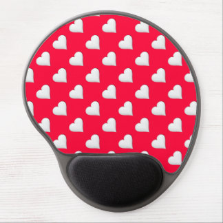White Heart on Red Background Print Gel Mouse Pad