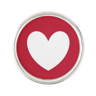 White heart on red lapel pin