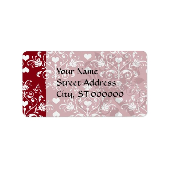 white heart on red romantic love damask label