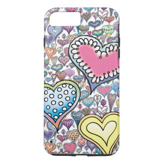 White Heart-Pattern iPhone Case