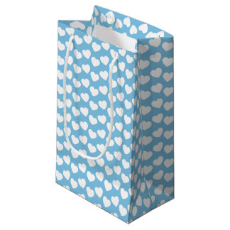 White Heart Pattern on Baby Blue Small Gift Bag