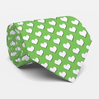 White Heart Polka Dot Pattern on Green Tie