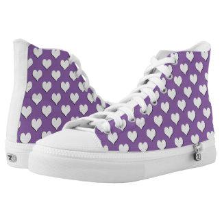 White Heart Polka Dot Pattern on Purple Printed Shoes