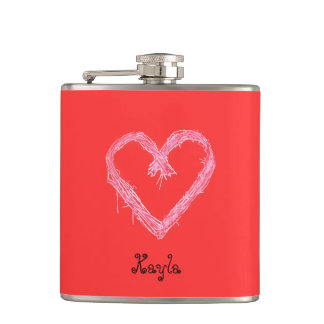 White heart red with background Valentine Hip Flask
