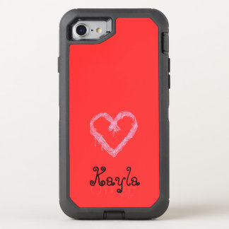 White heart red with background Valentine OtterBox Defender iPhone 8/7 Case