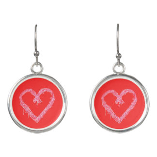 White heart with red hot background Valentine Earrings