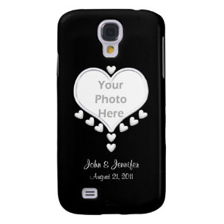 White Hearts on Black (photo frame) Wedding Galaxy S4 Case