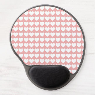 White Hearts on Blush Pink Gel Mousepads