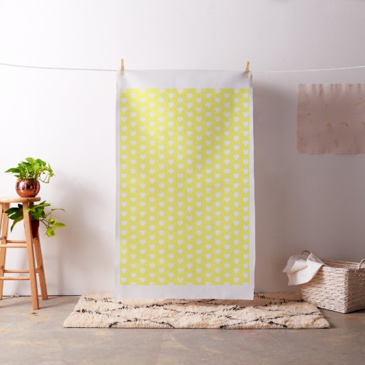 White Hearts on Bright Yellow Fabric