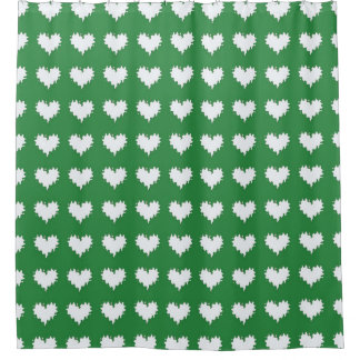 White Hearts on Green Shower Curtain