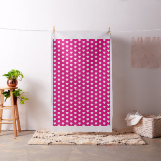 White Hearts on Hot Pink Fabric
