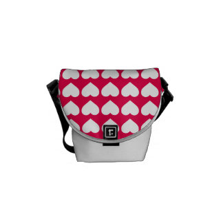 White Hearts on Lipstick Pink Courier Bags
