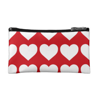 White Hearts on Lipstick Red Cosmetic Bag