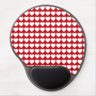 White Hearts on Lipstick Red Gel Mouse Pads