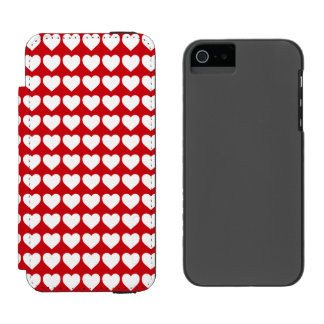 White Hearts on Lipstick Red Incipio Watson™ iPhone 5 Wallet Case