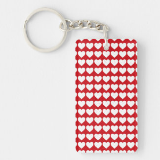 White Hearts on Lipstick Red Rectangle Acrylic Keychain