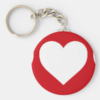 White Hearts on Lipstick Red Key Chains
