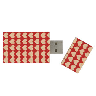 White Hearts on Lipstick Red Wood USB 2.0 Flash Drive